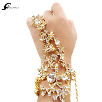 5fda7880284d Pulsera de cristal nupcial oro plata vestido de novia accesorios cadenas de  mano pulseras joyería nupcial pulseras y brazaletes