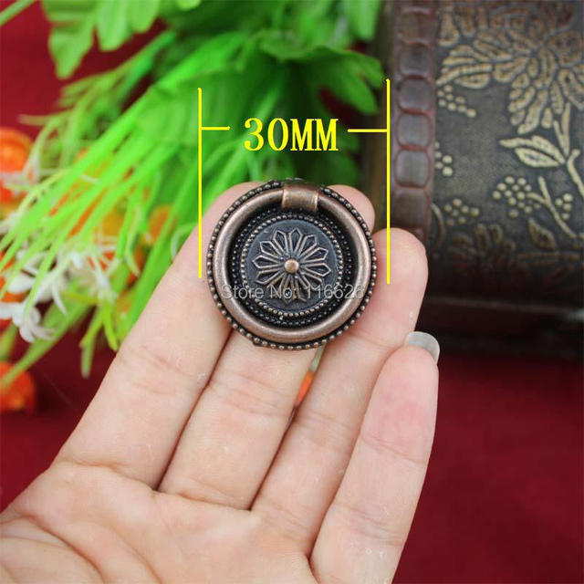 Free shipping 20pcs/lot  wooden box vintage copper finish round carve handle drawer pull Dia30mm