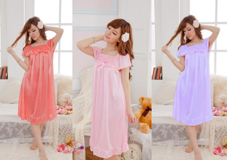 Nightgowns   &   Sleepshirts   Sling Lingerie Summer sling Lingerie lace casual loose ice silk nightdress home service 51712