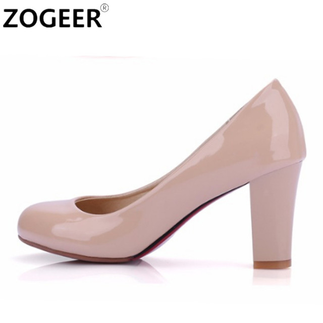 Large size 47 Fashion Thick High Heels Women Pumps PU Leather Casual White Red Nude Womens Heels Office Wedding Shoes Female