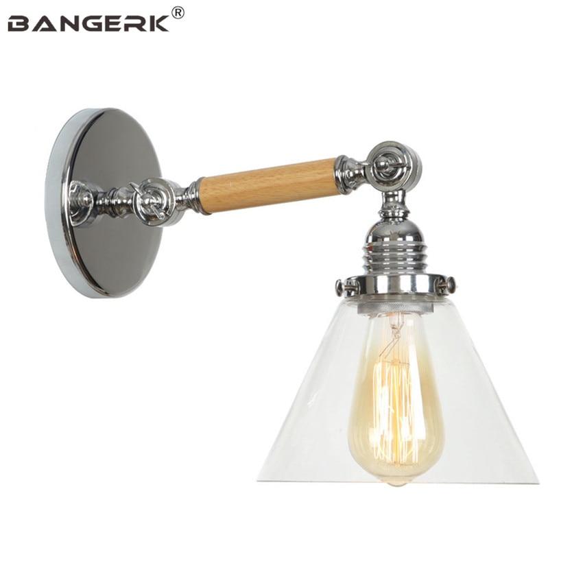 Edison Industrial Vintage Sconce Wall Lights Loft Iron Wood Glass Adjust LED Wall Lamp Bedside Home Decor Lighting Fixtures