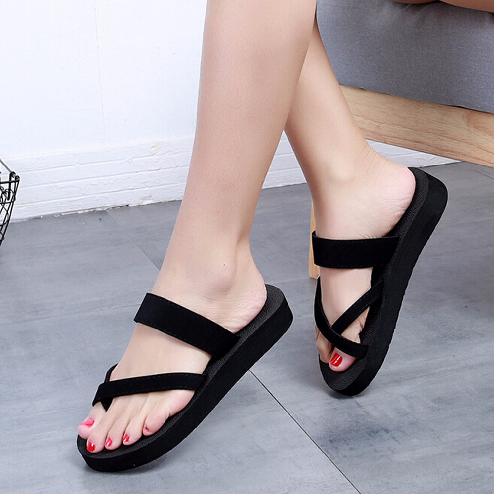 Sleeper #401 2019 NEW Womens Summer Flip Flops Casual Slippers Flat Sandals Beach Open Toe Shoes With Platforms Free Shipping lingerie top
