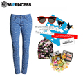 Owlprincess New style Mid Waist Pant ripped jeans for women Trousers causal spot Denim Pants Lady western Stylish