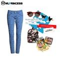 Owlprincess Nuevo estilo de Mediados de Cintura del Pantalón jeans rasgados para mujeres causales Pantalones de punto Pantalones de Mezclilla Dama Con Estilo occidental
