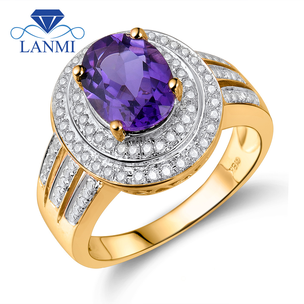 Vintage Oval 7x9mm Solid 14K Yellow Gold Purple Amethyst Engagement Ring, Diamond And Natural Amethyst Rings For Women BAB1417 jewlery sets vintage solid 14k white gold green amethyst diamond earrings for women fine amethyst jewelry