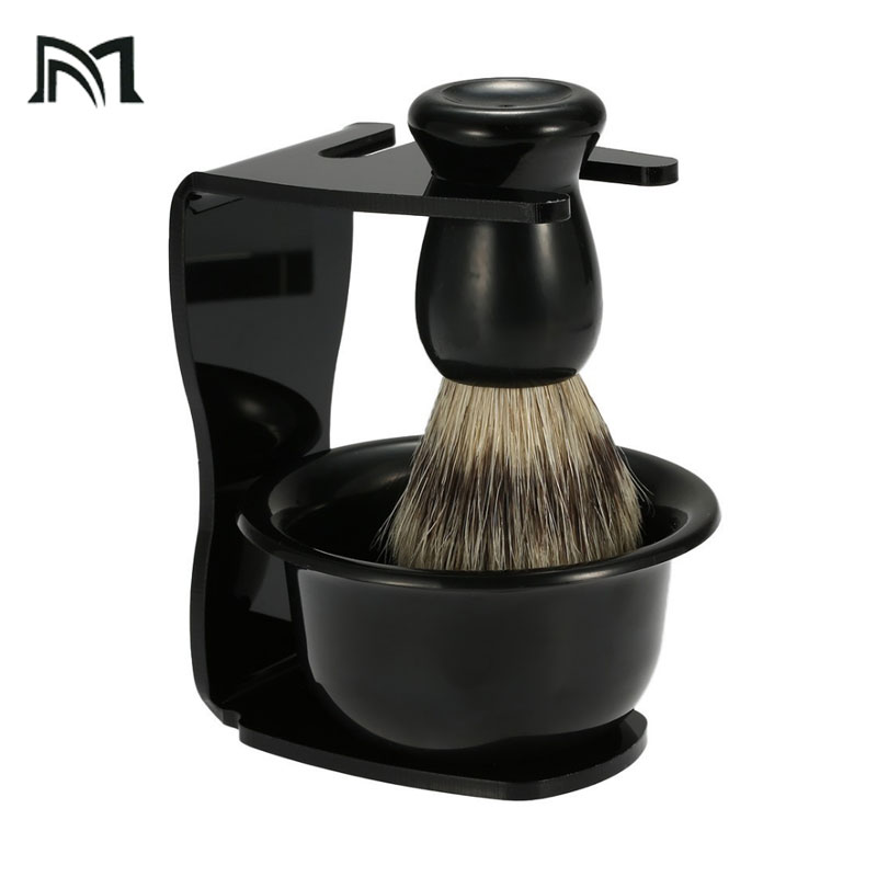 3 In 1 Shaving Soap Bowl Brush Stand Bristle Hair Men Beard Cleaning Tool Badger Gift