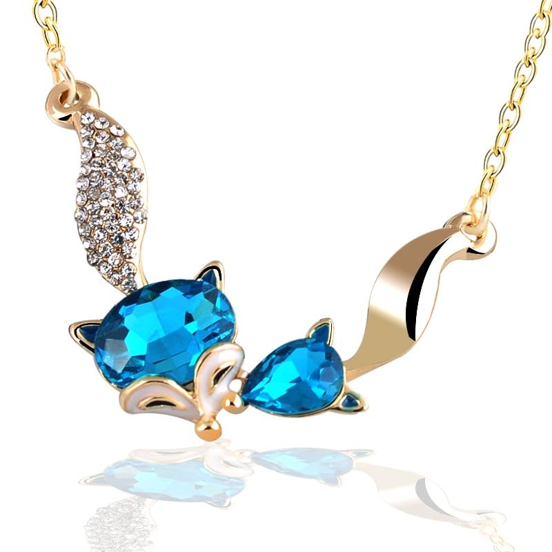 086b49b01796 Nueva llegada 2015 joyería de moda colores gran cristal rhinestone Fox  COLLAR COLGANTE para las mujeres regalo joyería fina femenina