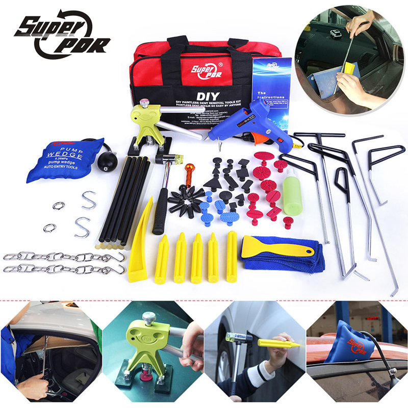 PDR Dent Repair Tools kit Push Rods Hook Tools Paintless Dent Removal tool set dent puller glue gun hammer pump wedge air bag pdr hook tool set b4