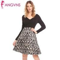 ANGVNS Women Deep V Neck Patchwork A Line Pleated Dress Long Sleeve Slim Print Swing Dress