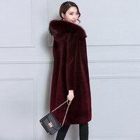 2019 зимнее элегантное женское длинное пальто из искусственного меха с воротником из лисьего меха, с капюшоном, плотное теплое пальто большог