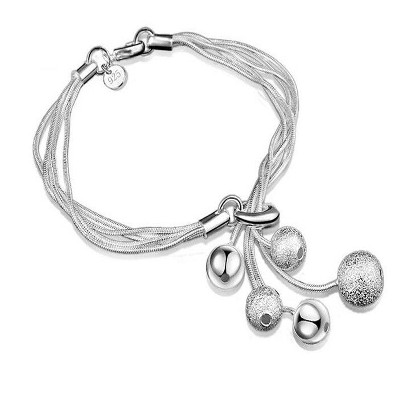 XIYANIKE Neue Ankunft 2017 Sterling Silber Heißer Verkauf Hängen 5 Perlen Armband Für Frauen Geschenk armbänder & armreifen Pulseira VBS4019