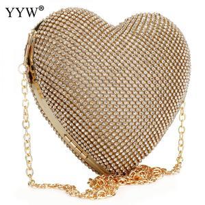 Image 4 - Tam lüks elmas akşam çanta kalp şekli altın el çantası çanta kadın taklidi ziyafet çanta günü debriyaj kadın 3 renk yeni