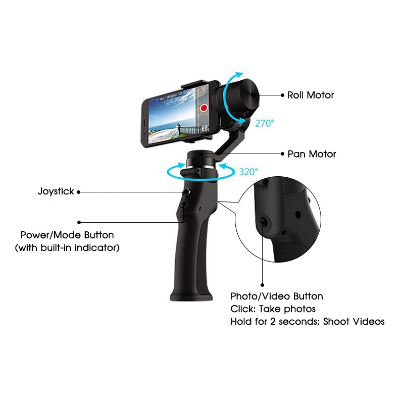 Image 3 - SAMTIAN Smooth 3 Axis Handheld Smartphone Gimbal Stabilizer For Phone XS XR X 7 8 Plus Samsung S7 8 9 Photo Video Recording-in Handheld Gimbal from Consumer Electronics