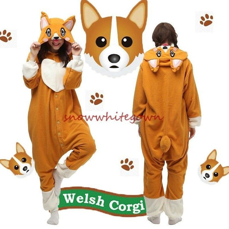 Adulto Animale Welsh Corgi Dog Onesies Pigiama In Pile Cosplay Sleepwear