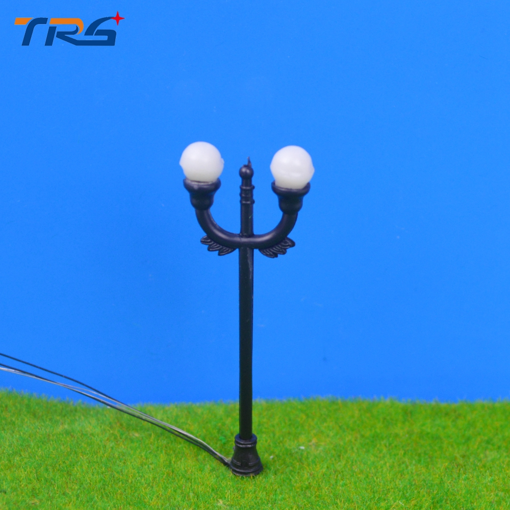 100pcs 2 head lights Model Railway scale Lamppost Lamps Street Lights O Scale 5-7 cm for architecture