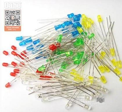 100pcs 3mm LED Light White Yellow Red Green Blue Assorted Kit DIY LEDs Set 3 Mm LED 5 Kinds Of