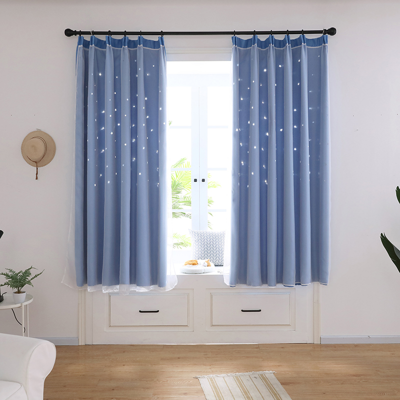 2019 New Starry Sheer Curtain Tulle Window Treatment Voile Drape Valance Double-deck curtains for bedroom living room Home Decor
