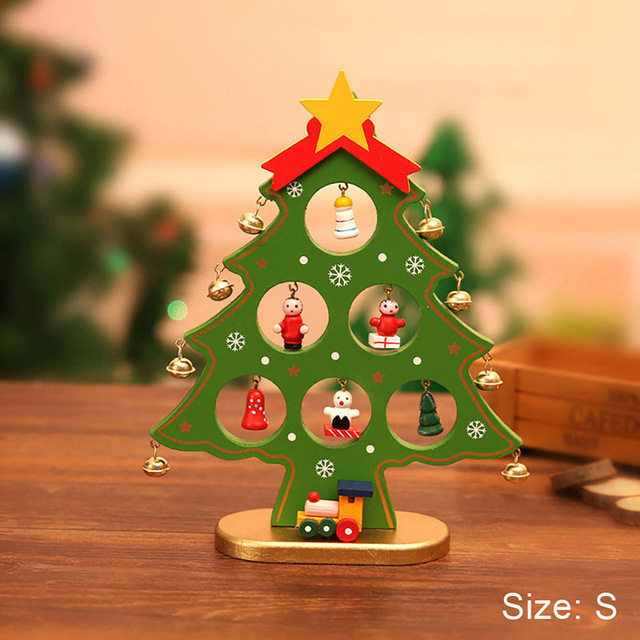 diy wooden christmas ornaments festival party xmas tree table desk decoration toy hanging led christmas tree