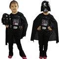 Conjunto crianças das meninas dos meninos star wars traje macacão manto máscara capacete darth wader preto crianças dia das bruxas cosplay roupas terno FG040