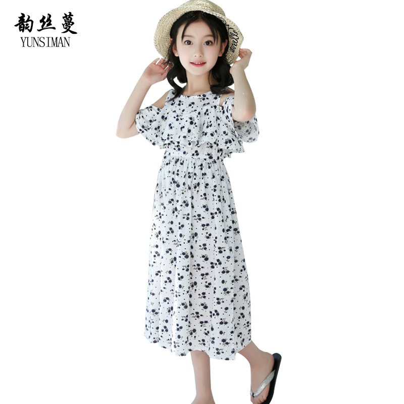 Baby Girls Dresses for Kids Teens Ant Print Flower Beach Cotton Girls Long Dress Children Summer Party Clothes 10 12 14 Y 12C18 girls dresses fruit design pineapple orange dress summer kids clothes flower print for kids age 5678910 11 12 13 14 years old