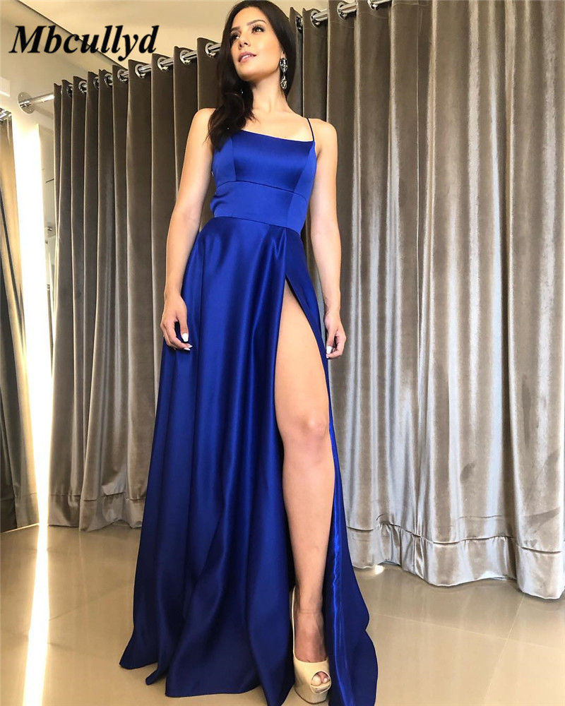 Mbcullyd Elegant Long   Prom     Dresses   For Women 2019 Sexy Halter Neck Satin A Line Formal Evening   Dress   Royal Blue Robe de soiree