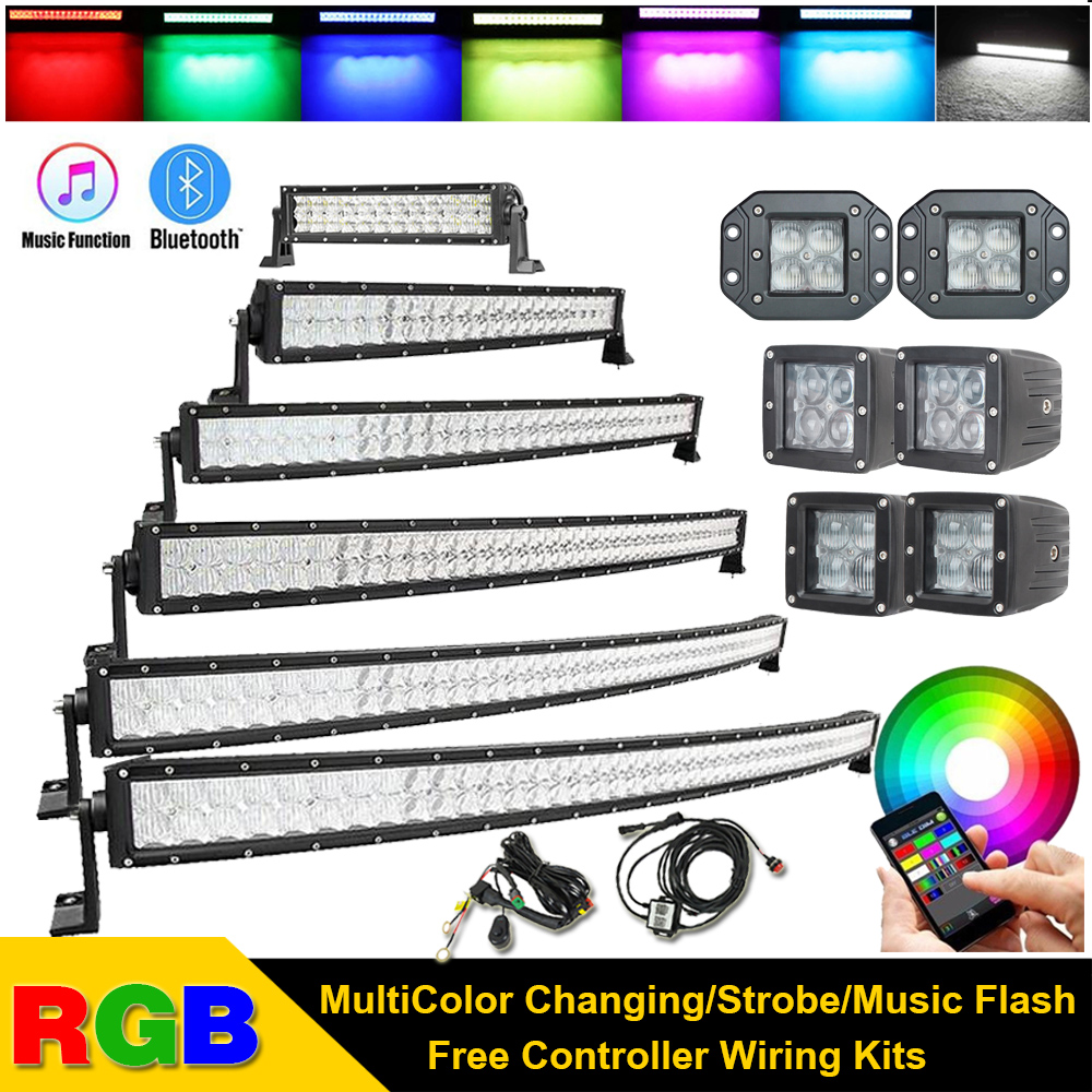 Light Bar/work Light 180w Led Rgb Light Bar Multi-color Changing Offroad Flash Bluetooth Jk Fixing Prices According To Quality Of Products Automobiles & Motorcycles