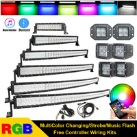 3 14 22 32 42 50 52 inch 5D RGB Led Offroad Light Bar Straight Curved MultiColor Strobe Flash Bluetooth For Jeep SUV Truck ATV