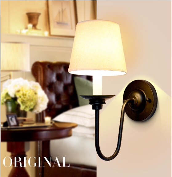 American Country Iron Cloth Bedroom Wall Lamp Black Metal Living Room Light Hotel Light  ...