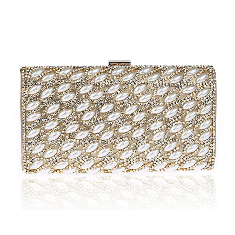 Ladies Evening Party Small Clutch Bag Pearl Crystal Chain Bridal Purse Fashion Dinner Banquet Hand Bag bolso Handbag gold XA566H  luxury gold silver evening purse women pink pu leather pearl hand bag chain shoulder clutch bags handbag bolso handtassen xa841h