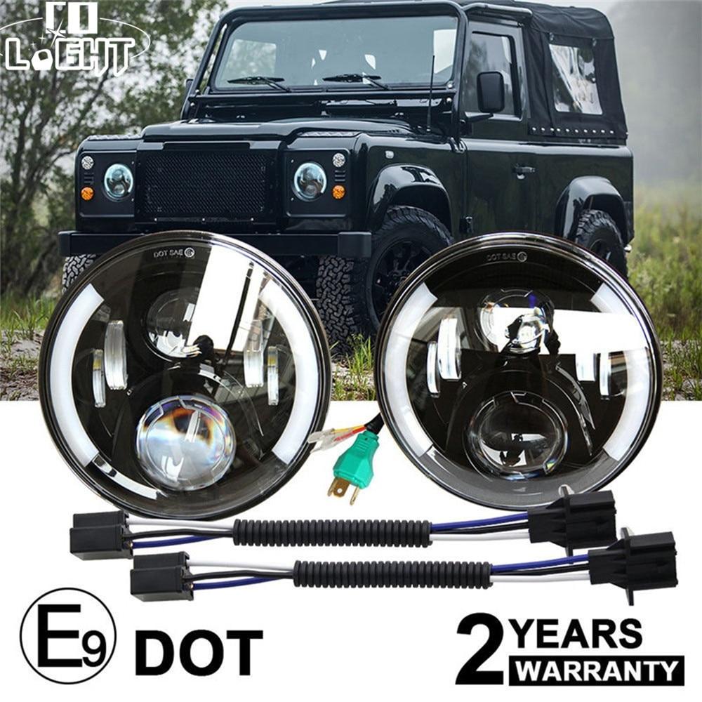 CO LIGHT 7inch Car LED Headlight 80W Led 12V Hi/Low Auto with Angel Eye DRL For Lada 4x4 urban Jeep Wrangler JK CJ Hummer Harley цена