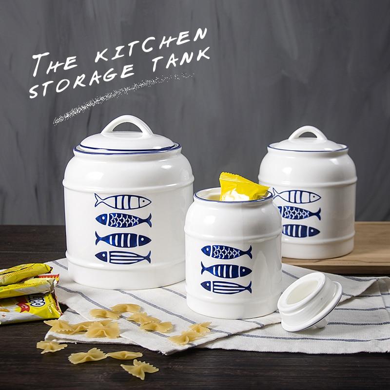 Nueva cocina creativa Ceramic Sealing Pot Milk Milk Snacks y gran - Organización y almacenamiento en la casa