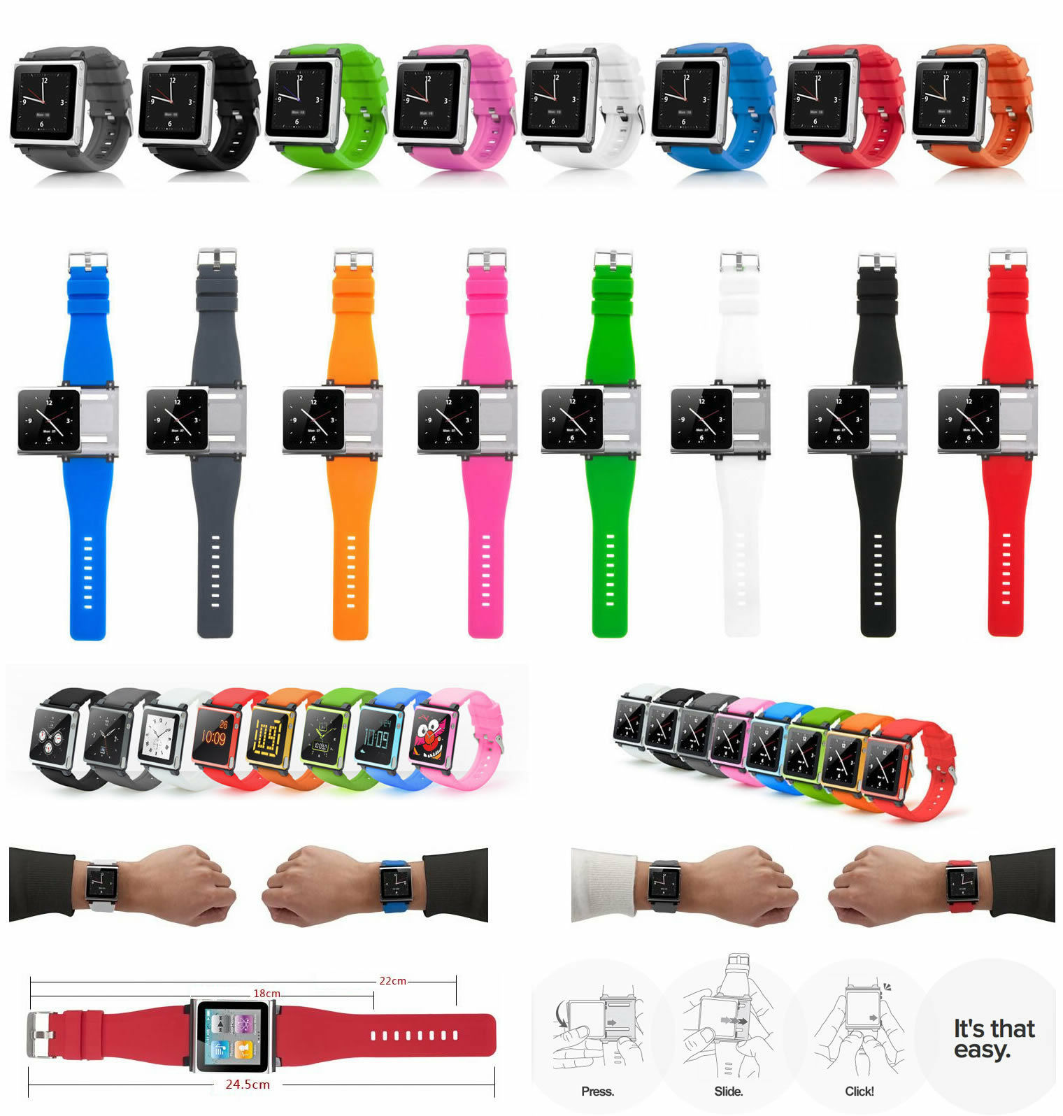 Multi-Touch Watch Band Kit Wrist Strap Bracelet For IPod Nano 6 6th 6g Silicone Watch Band Wrist Strap