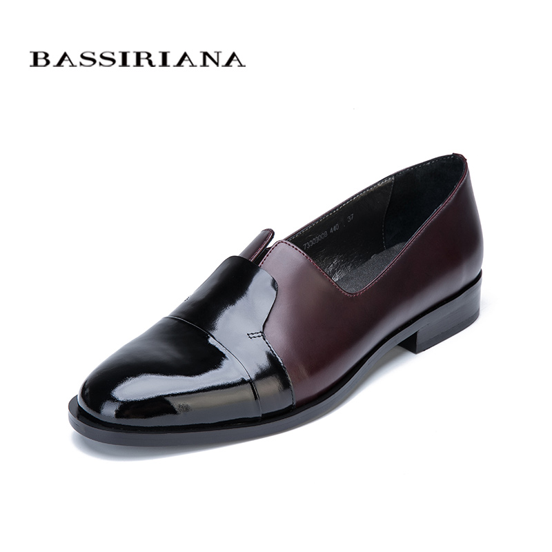 BASSIRIANA 2017 New Pumps Casual genuine leather shoes woman round toe Spring/Autumn Classics slip-on 35-40 size Free shipping new 2017 men s genuine leather casual shoes korean fashion style breathable male shoes men spring autumn slip on low top loafers