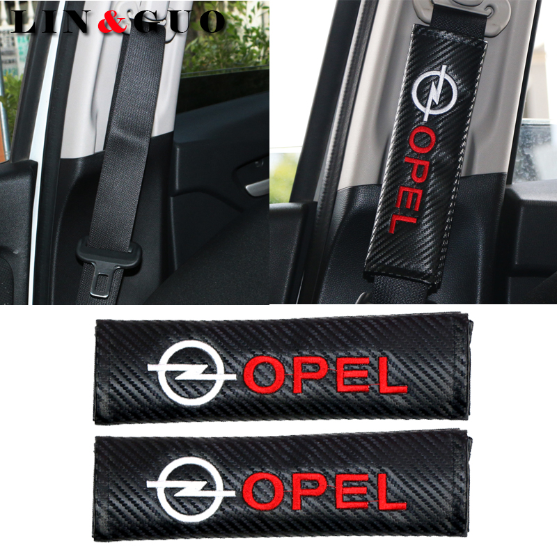 2PCS Car Carbon Fiber Safety Belt Embroidery Pattern Covers Seat Belt Case For OPEL Corsa Insignia Astra Antara Meriva Zafira