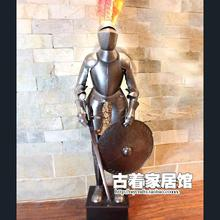 The European Medieval Knight / European style of the ancient iron Samurai armor model / living room decoration bar 2m
