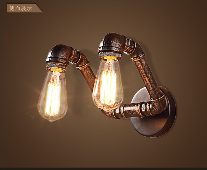 2 Kpfe Loft Industriellen Eisen Rost Wasser Rohr Retro Wand Lampe Vintage E27 Wandleuchte Lichter Fr