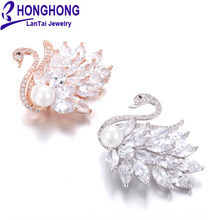 HONGHONG High-quality Swan Brooches pins for women wedding broches mujer Lovely Animal zirconia Pearl Brooch Fashion jewelry