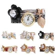 1pc fashion luxury brand new women ladies bracelet watches wrist clocks Leather strap flower design Quartz