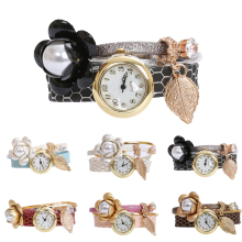 1pc fashion luxury brand new women ladies bracelet watches wrist clocks Leather strap flower design Quartz Wristwatches gift H3