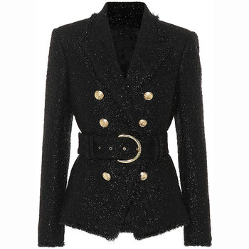 Chic women double breasted belted blazers jackets England style short coat D857