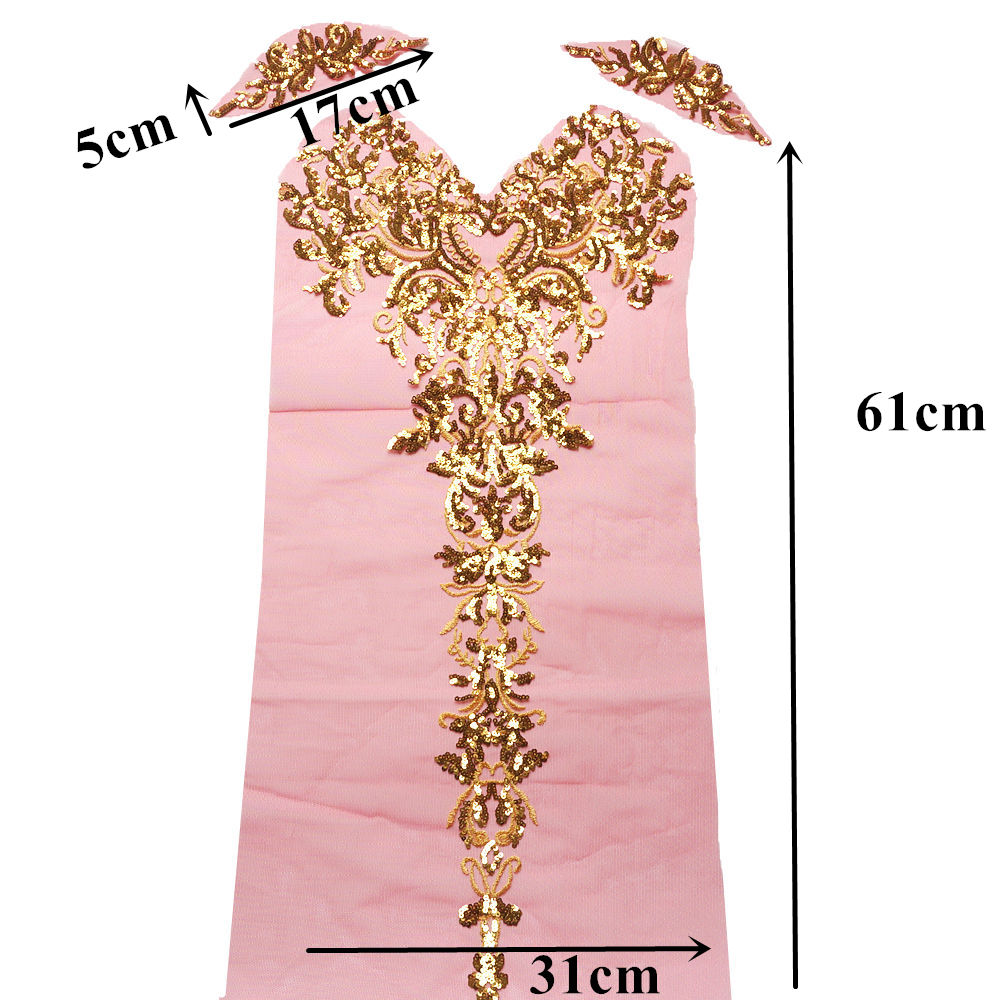 Image 5 - 1 Set Gold Sequined Appliques Red Blue Black Mesh Epaulette Embroidery Lace Fabric Wedding Sew On Patch For Dress DIY Decoration-in Patches from Home & Garden