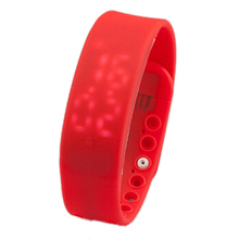 JHO-3D LED Waterproof Pedometer Health Watch pedometer Temperature Sports Watch Fitness The activity log Calorie Counter Red