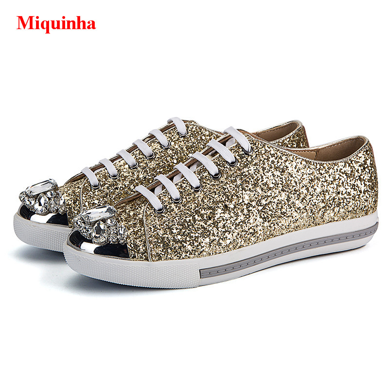 Cristal Up Pic Cap Appartements Glitter Femmes Paillettes De Luxe Casual As Derby Bling À toe Métal Pic Chaussures Dentelle Miquinha Or as Marque xXnZRvR