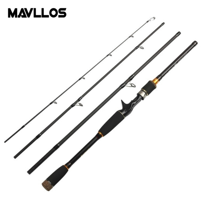 Mavllos 4 Segment Portable Fishing Rod Lure Weight 10 25g M Hardness Carbon Saltwater Spinning Casting Bait Lure Rod