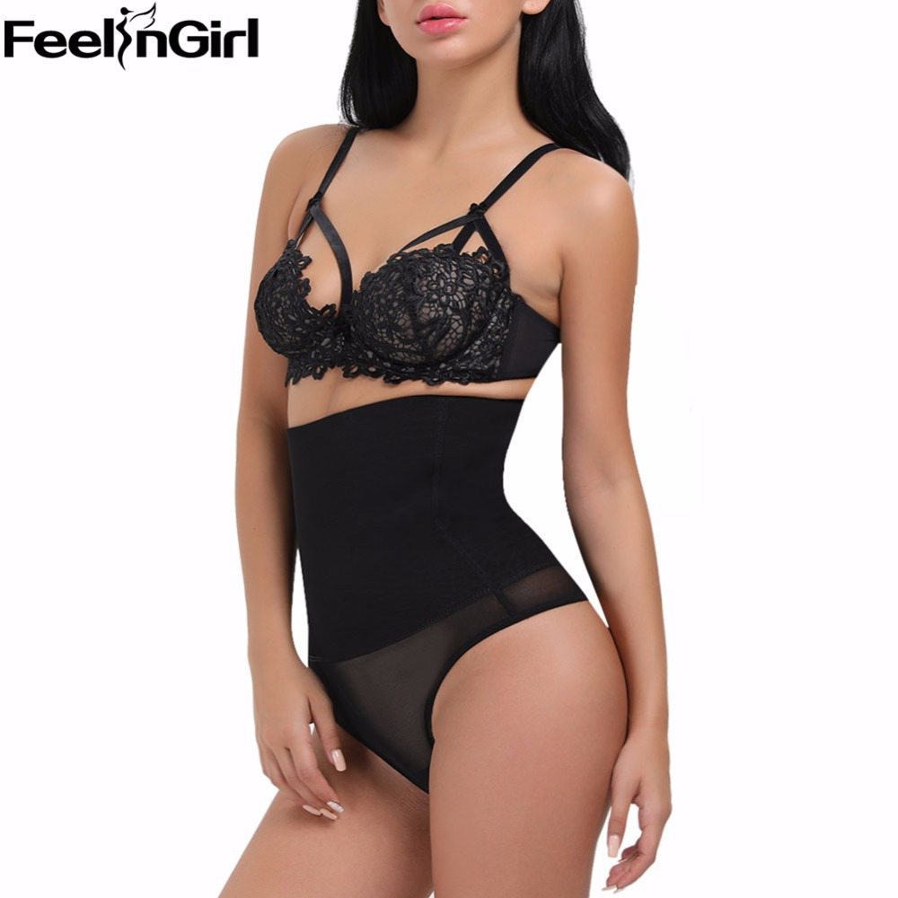 2e5caba896d43 C Women High Waist Tummy Control Waist Trainer Butt Lifter Panties Thongs  Underwear Black Slim Body Shaper Plus Size Shapewear