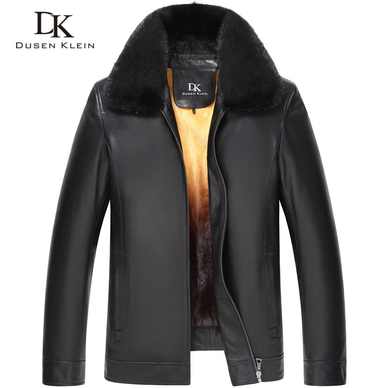 Dusen Klein Luxury Men Genuine Leather Jacket Winter Outerwear Mink Fur Liner/Black/Slim Sheepskin Coat 15Z1532