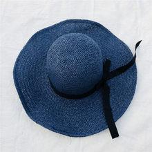 Primavera 2018 Moda Mulher Mulheres Chapéu de Aba Larga Summer Beach Sun  Chapéu de Palha Dobrável 42a92941560