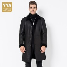 Italy Mens Lamb Fur Lining Long Trench Single Breasted Lapel Collar Business Work Winter Jacket Top