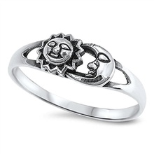 Sun Moon Universe Space Fashion Ring New 925 Sterling Silver Band Flower and Leaf Marcasite Crystal Rings