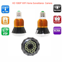 H.264 HD 1080P IP Wide Angle Bulb Camera Wi-fi Mini Security Home Wireless Bulb CCTV Security DVR Support IOS/Android Remote